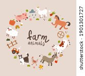 farm animals frame  copy space... | Shutterstock .eps vector #1901301727