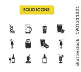 drink icons set with strawberry ...
