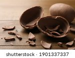 Broken And Whole Chocolate Egg...
