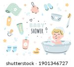 baby shower elements doodle set.... | Shutterstock .eps vector #1901346727