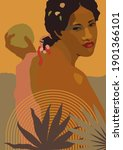 vector boho style black woman... | Shutterstock .eps vector #1901366101