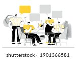 people in the meeting talk and... | Shutterstock .eps vector #1901366581