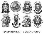 monochrome lion with skull... | Shutterstock .eps vector #1901407297
