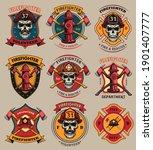 firefighter patches set. badges ...   Shutterstock .eps vector #1901407777