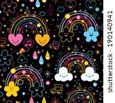 Rainbows Clouds Hearts Cartoon...