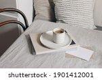 breakfast still life scene. cup ... | Shutterstock . vector #1901412001