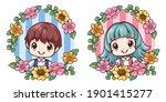 kawaii kid and flower frame.... | Shutterstock .eps vector #1901415277