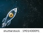 Small photo of Bitcoin logo rocket launcher, cryptocurrency concept. The growth rate of the gold coin for designers and breaking news. Bitcoin to the moon classic rocket Illustration.