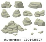 stacks of flat rocks set. heaps ... | Shutterstock .eps vector #1901435827