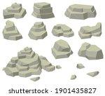 stacks of flat rocks set. heaps ... | Shutterstock .eps vector #1901435827