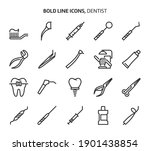dentist tools  bold line icons. ...   Shutterstock .eps vector #1901438854