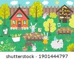 vector garden scene with cute... | Shutterstock .eps vector #1901444797