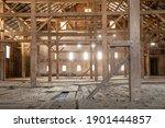 Old Barn Wooden Beams Of...