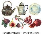Vintage Tableware Watercolor...