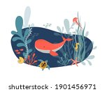 sea life. vector hand drawn... | Shutterstock .eps vector #1901456971