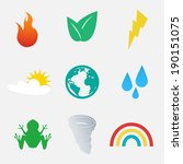 Design Style Nature Icons Set