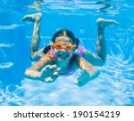 the cute girl swimming... | Shutterstock . vector #190154219