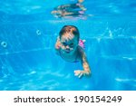 the cute girl swimming... | Shutterstock . vector #190154249