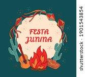 festa junina greeting card  ... | Shutterstock .eps vector #1901543854