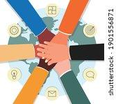 global teamwork   cartoon hands ... | Shutterstock .eps vector #1901556871