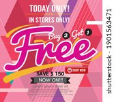 buy 2 get 1 free promotion... | Shutterstock .eps vector #1901563471