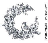 vector wreath of hand drawn...   Shutterstock .eps vector #1901590894