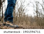 Close Up Of Man's Rugged Hiking ...