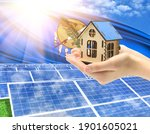 The photo with solar panels and a woman