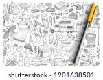 accessories for camping doodle...   Shutterstock .eps vector #1901638501