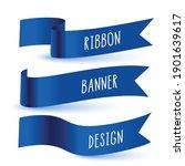 blue 3d flag ribbon banner set... | Shutterstock .eps vector #1901639617