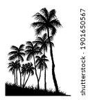 palms silhouette hand drawn...   Shutterstock . vector #1901650567