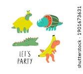 cute summer dinosaur in flat... | Shutterstock .eps vector #1901673631