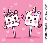 cute marshmallow unicorn vector ... | Shutterstock .eps vector #1901677924