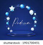 elenagt 3d circle blue podium... | Shutterstock .eps vector #1901700451