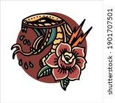 snake and rose tattoo vector...   Shutterstock .eps vector #1901707501