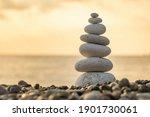 Balance Stones Close Up On The...