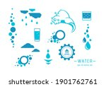 water   vector icons set on...