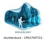 Speleology. Spelunker And Bat...