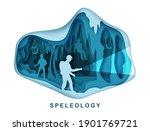 Speleology. Spelunker And Bat...