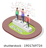isometric happy disabled...   Shutterstock .eps vector #1901769724