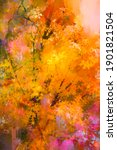oil painting colorful autumn... | Shutterstock . vector #1901821504