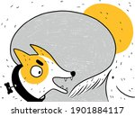 a funny dog chases its tail.... | Shutterstock .eps vector #1901884117