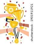 win achievement. happy awarding ... | Shutterstock .eps vector #1901911921