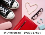 flat lay valentines day banner. ... | Shutterstock . vector #1901917597
