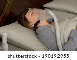woman wearing cpap machine for... | Shutterstock . vector #190192955