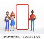 three diverse office workers... | Shutterstock . vector #1901931721