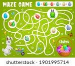 kids maze game help easter...   Shutterstock .eps vector #1901995714
