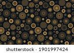 golden fireworks in night sky... | Shutterstock .eps vector #1901997424