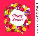 easter floral wreath vector... | Shutterstock .eps vector #1901998414