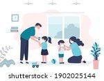dad treats daughter's hands... | Shutterstock .eps vector #1902025144